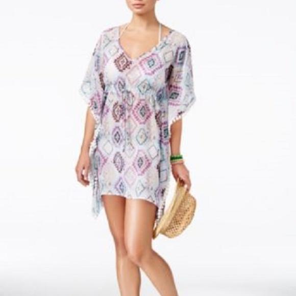 53925610e7469 Miken Tribal Print Pom Pom Swim Cover Up Dress